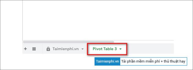 pivot table tren google sheets