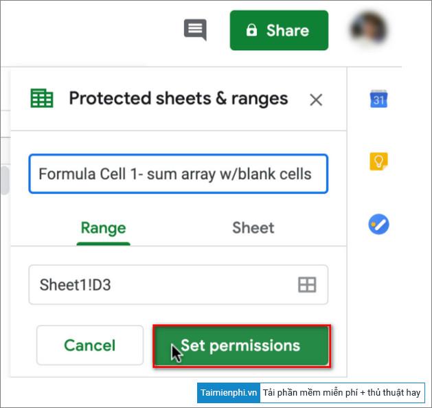 cach khoa cong thuc google sheets