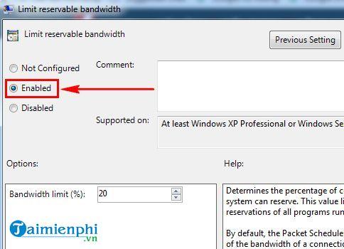 Cách tăng tốc độ mạng Windows 7 4