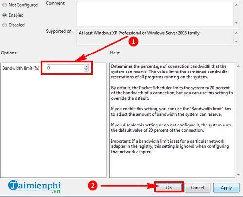 Cách tăng tốc độ mạng Windows 7 5