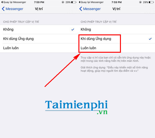 chia se vi tri cua ban tren ung dung facebook messenger cho iphone ipad 4