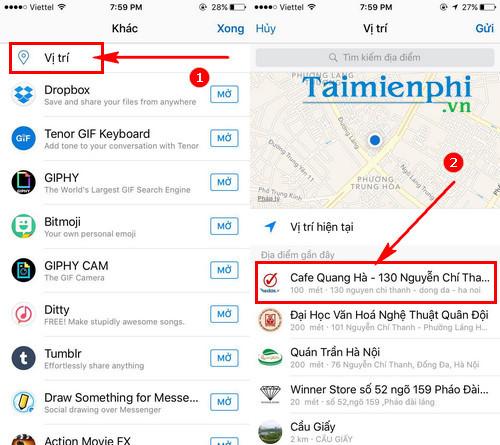 chia se vi tri cua ban tren ung dung facebook messenger cho iphone ipad 7