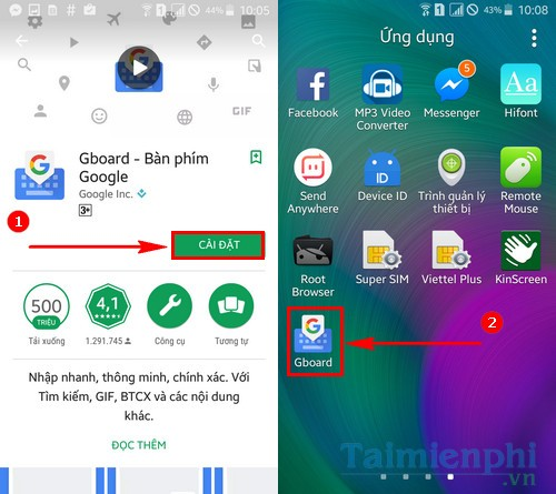 gui anh dong gif voi google keyboard tren android