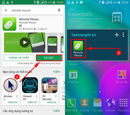 su dung dien thoai android iphone thay the chuot va ban phim tren may tinh
