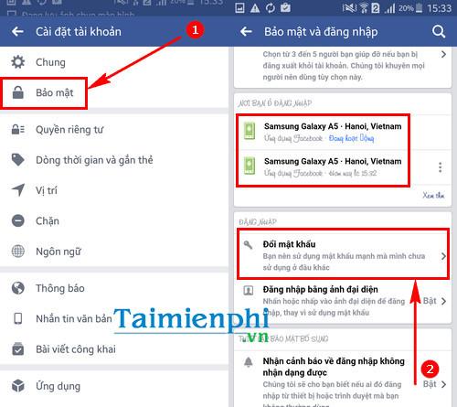 Cách đổi mật khẩu Facebook trên điện thoại Samsung Galaxy