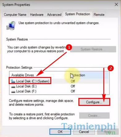 Cách bật tắt System Restore trên Windows 10 2