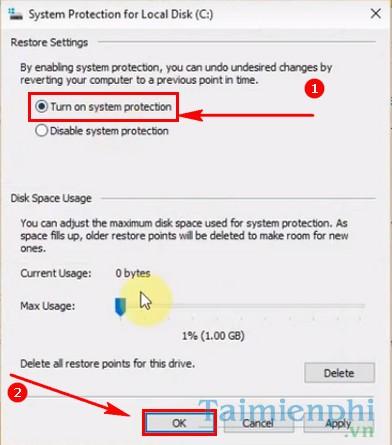 cach bat tat system restore tren windows 10 4