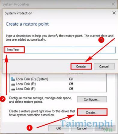 Cách bật tắt System Restore trên Windows 10 4