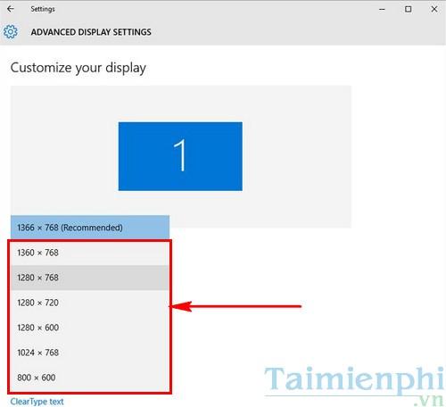Cách chỉnh độ phân giải màn hình Windows 10 trên các màn hình khác nhau 4