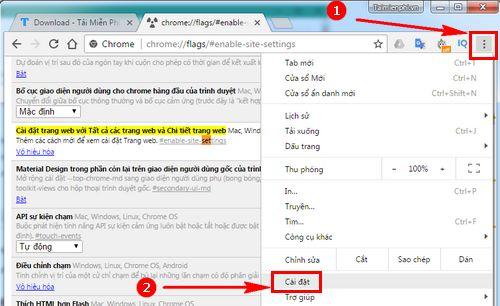 Cách mở menu Setting của Google Chrome