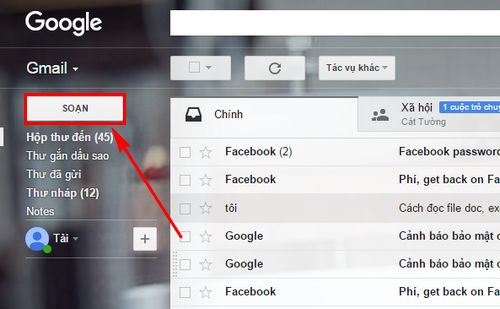 hop thu gmail cach mo nhan gui mail trong gmail 4