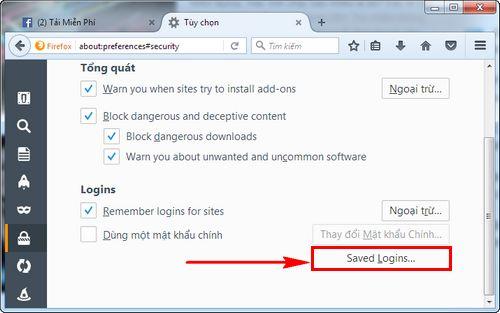 Cách xóa mật khẩu Facebook lưu trên Firefox