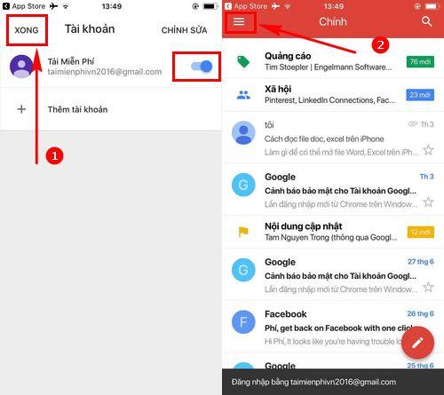 Cách đăng nhập Gmail trên điện thoại iPhone
