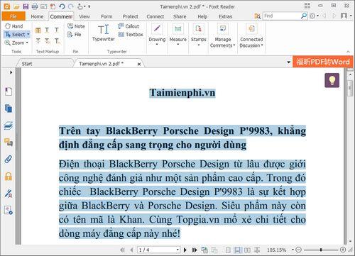 Cách chuyển PDF sang Word sử dụng Foxit Reader và UniPDF 2