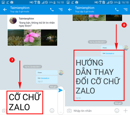 Cách thay đổi cỡ chữ trong Zalo