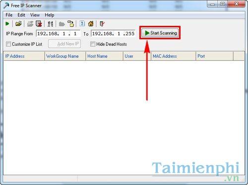 Cách sử dụng phần mềm dò địa chỉ IP Modem Free IP Scanner