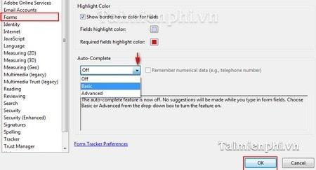 Adobe Reader - Bật tính năng tự động hoàn tất văn bản
