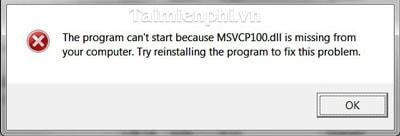 khac phuc, sua loi MSVCR100.DLL is missing...