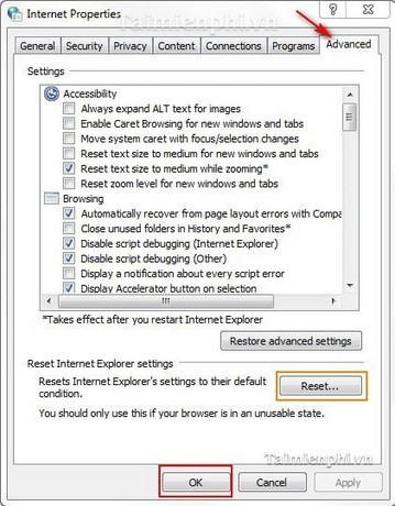 Internet Explorer - Fix lỗi
