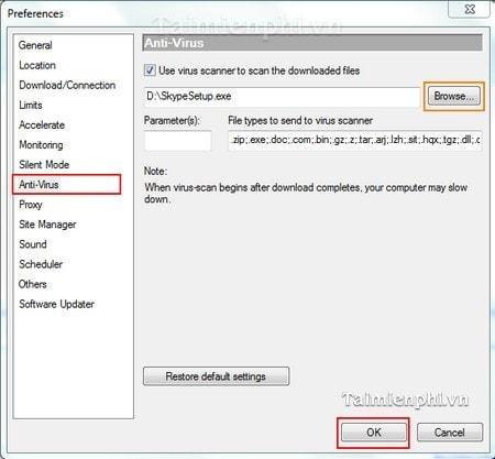 Orbit Downloader - Quét Virus trên các file vừa tải về