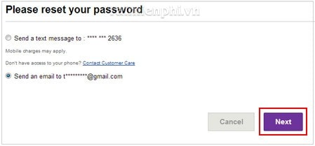how to send forgotten phone password to email