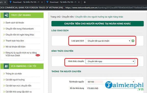 Chuyển tiền nhanh qua thẻ tới ngân hàng khác từ Vietcombank 2