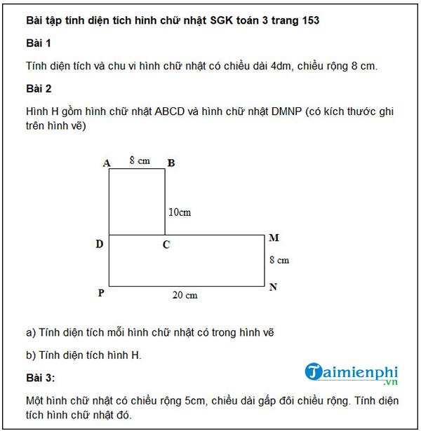 Cách tính diện tích hình chữ nhật lớp 3 5