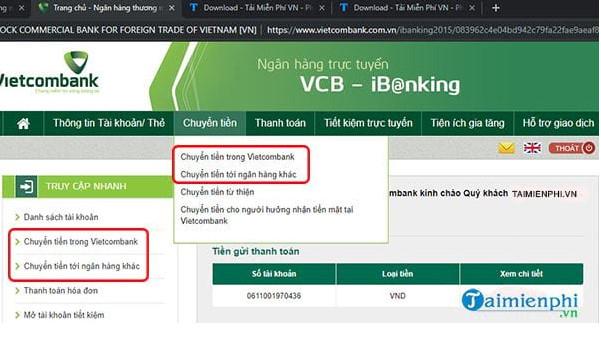 Cách chuyển khoản bằng SMS Banking Vietcombank 3