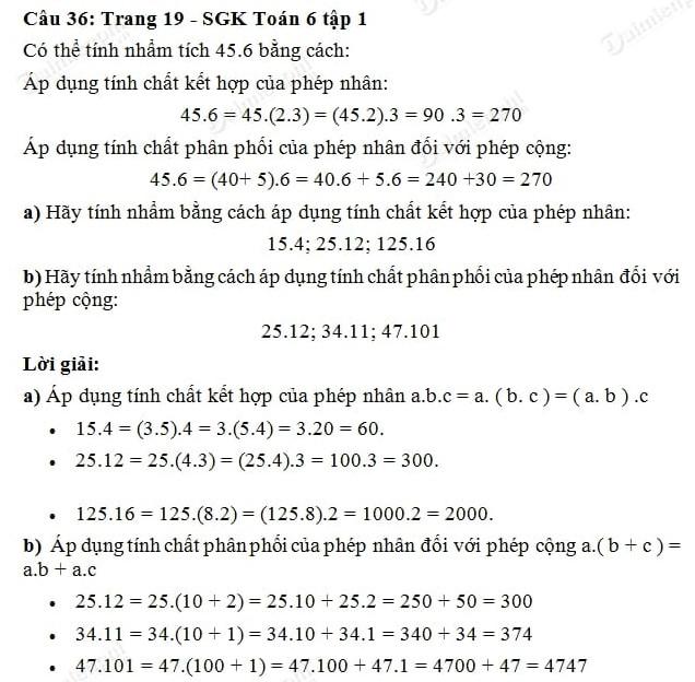 Giải toán lớp 6 tập 1 trang 16, 17, 19, 20 phép cộng và phép nhân