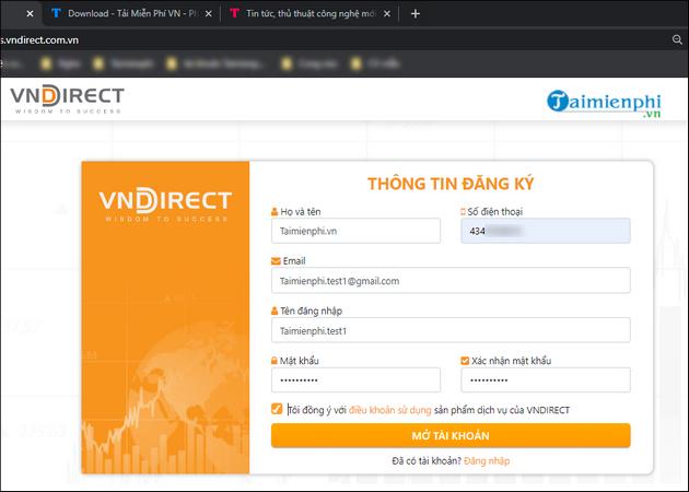 Cách đăng ký tài khoản VNDirect