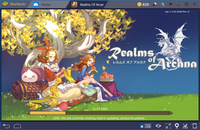 cach choi realms of arcana tren may tinh bang bluestacks