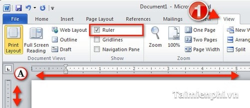 Show Ruler, a ruler, align bar in Word