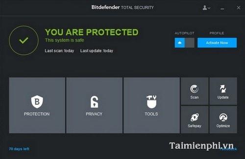 The beta version of bitdefender total security 2015