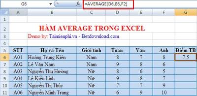 ham average trong excel