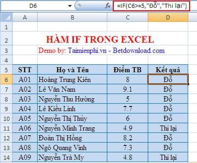 ham if trong excel