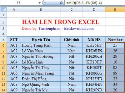 Excel - Hàm LEN, hàm đo độ dài của chuỗi ký tự 2