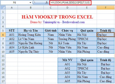 cach su dung ham vlookup trong excel
