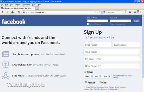 On Facebook blocked, delayed by Tor Browser