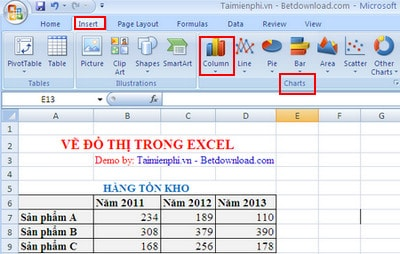 ve do thi trong excel