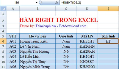Hàm RIGHT trong Excel, hàm cắt chuỗi ký tự bên phải, ví dụ và cách dùn