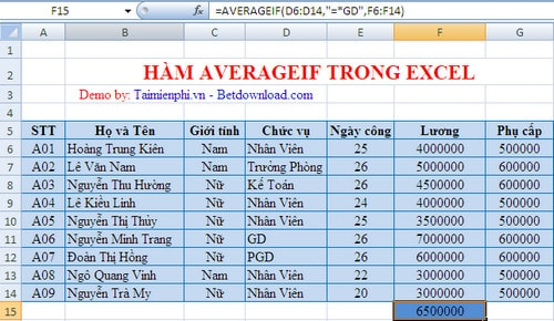 how to use averageif function in excel 2013