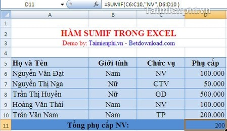 cac ham tinh toan trong excel