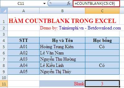 Hàm COUNTBLANK trong Excel, hàm đếm các ô rỗng, ví dụ minh họa