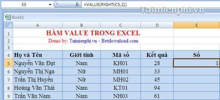 Hàm VALUE trong Excel, cú pháp và ví dụ minh họa 3