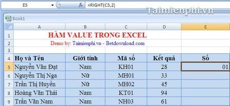 Hàm VALUE trong Excel, cú pháp và ví dụ minh họa 2
