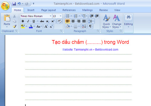 how to put dotted lines inword