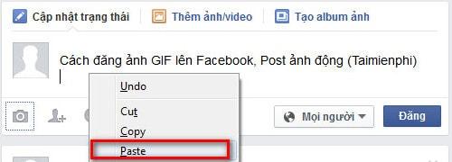 Cách đăng ảnh GIF lên Facebook, Post ảnh động