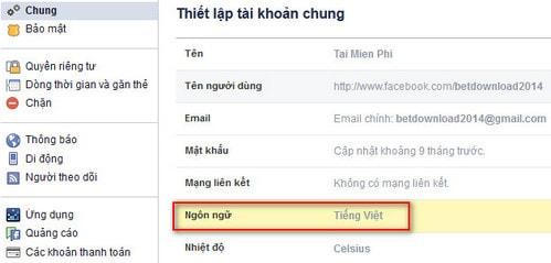 Hỏi về thay đổi ngôn ngữ trong Facebook?
