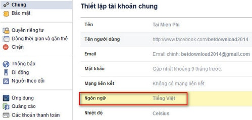 cach doi ngon ngu facebook sang tieng viet