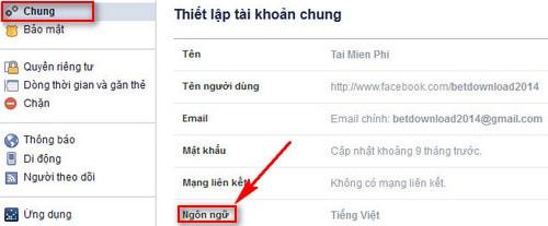 doi facebook tieng viet sang tieng anh